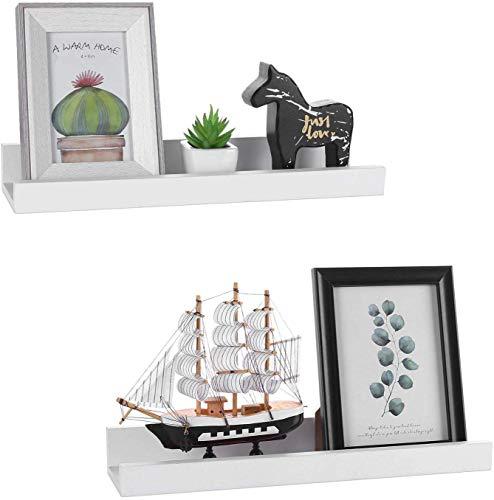 GEEZY - Juego de 2 estantes flotantes para colgar cuadros, Blanco, 30 x 10 x 5 cm