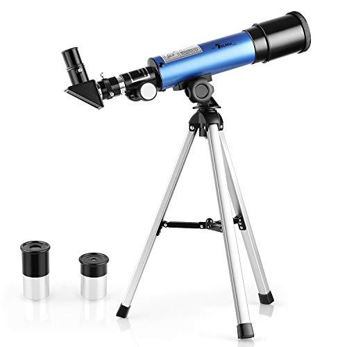 TELMU Telescopio para Niños 50 mm de Apertura y 360 mm de Distancia Focal Telescopio Astronómico Regalo Ideal para Niños de 5 a 10 Años (Incluyendo Trípode y Ocular)