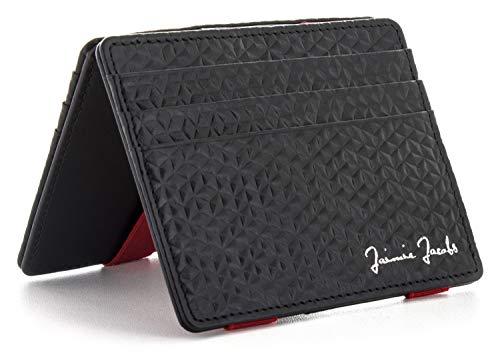 JAIMIE JACOBS Flap Boy Slim - Das Original - Magic Wallet ohne Münzfach integrierter RFID Schutz Magischer Geldbeutel Echtleder (Diamond Edition Schwarz/Rot)