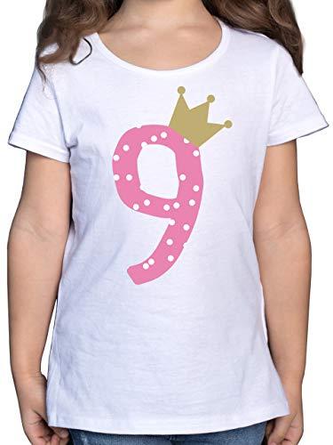 Geburtstag Kind - 9. Geburtstag Krone Mädchen Neunter - 140 (9/11 Jahre) - Weiß - t Shirt 9 Jahre Geburtstag - F131K - Mädchen Kinder T-Shirt