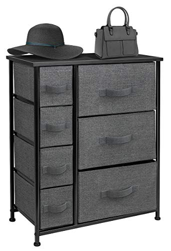 Sorbus Dresser with Drawers - Furniture Storage Tower Unit for Bedroom, Hallway, Closet, Office Organization - Steel Frame, Wood Top, Easy Pull Fabric Bins (Black/Charcoal)