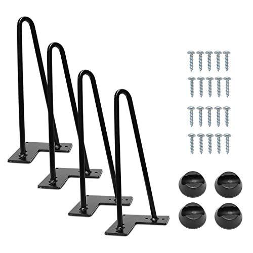 Signstek Patas de escritorio de mesa de 4 piezas, patas de muebles de hierro negro para muebles de artesanías de bricolaje Con Tornillos y Bases Protectoras (12