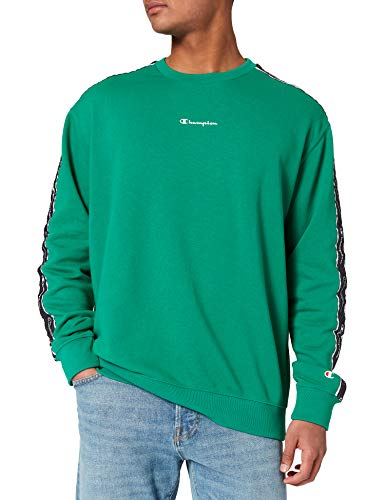 Champion Seasonal American Tape Crewneck Sweatshirt, Green, M Mens