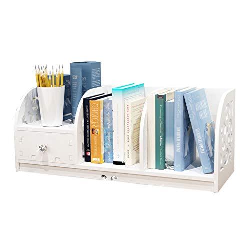 CJshop Librería Estantería Simple estantería de Escritorio Económico Pequeña estantería Asamblea de Bricolaje Lavable (Blanco) Estantería Libros
