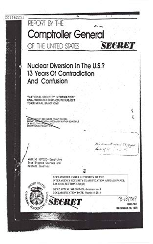 Nuclear Diversion in the U.S.? 13 Years of Contradiction and Confusion, December 18, 1978 (English Edition)