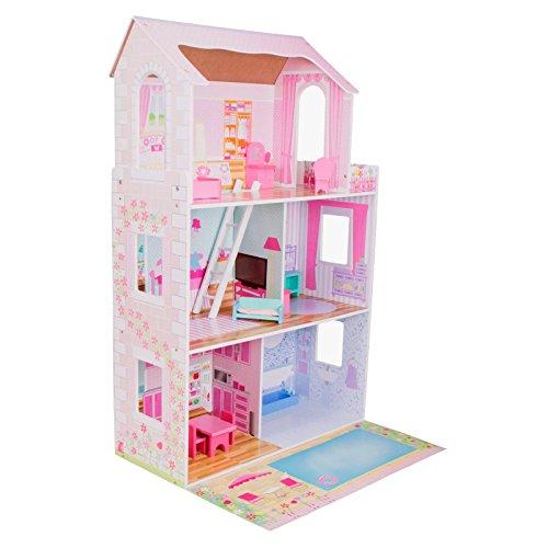 boppi® Casa de muñecas de Madera para niñas con 3 Pisos + 15 Muebles para Jugar
