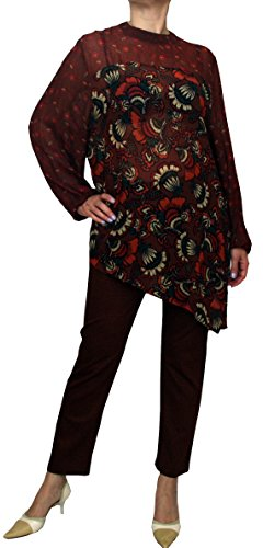 Save The Queen 1153 dames tuniek zomerblouse, viscose, bruin gebloemd, S, M, L, XL, XXL.