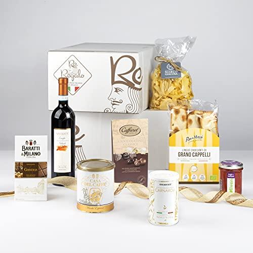 RE REGALO CESTO 'PIEMONTE' Canestrelli, Crema di Nocciole, Caramelle ripiene alla Mela, Pasta...