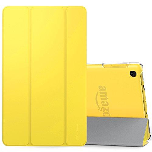 MoKo Hülle für All-New Amazon Fire HD 8 Tablet (7th und 8th Generation – 2017 und 2018 Modell) - Ultra Slim Lightweight Smart Cover mit Durchschaubar Rückseite Schutzhülle, Zitrone Gelb