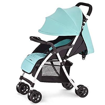 LIU UK Baby Stroller El Cochecito de bebé Puede Sentarse y acostarse Carro Infantil Ligero Portátil Plegable Amortiguador Carrito de bebé recién Nacido Trolley (Color : Cyan)