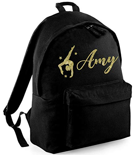 Absolutely Top - Mochila de Gimnasia con Purpurina para niños, Personalizable Ink Black/Metallic Gold Glitter 38 x 28 x 19cm
