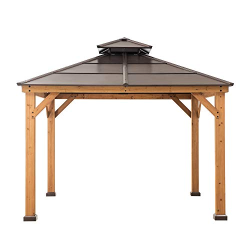 Sunjoy A102008500 Chapman 10x10 ft. Cedar Framed Gazebo with Steel 2-Tier Hip Roof Hardtop, Brown