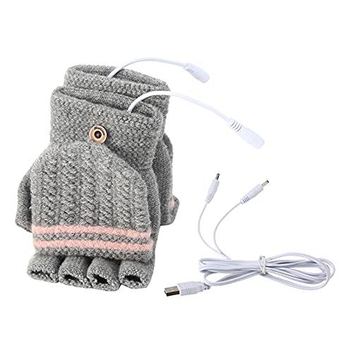 Eurobuy USB beheizte Handschuhe, Unisex Damen & Herren Winterhand Warme Handschuhe Waschbares Design Elektrische Heizung Volle und halbe Hände Warme Laptophandschuhe Handschuh für drinnen oder draußen