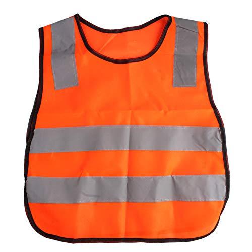 AngelicaAP High Visibility Kids Safety Vest, Children Waistcoat Vest Grey Reflective Strips Traffic Clothes, Orange