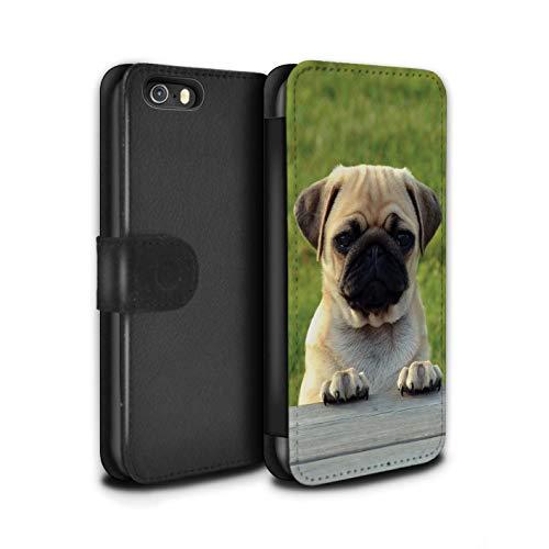 Stuff4 PU Pelle Custodia/Cover/Caso/Portafoglio per Apple iPhone 5/5S / Pug/Carlino Adorabile/Razze Cani/Canine Popolari Disegno