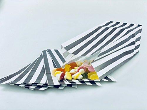 wecansourceitltd 50 bolsas de papel para palomitas de maíz, color gris y blanco, 100% reciclables y biodegradables