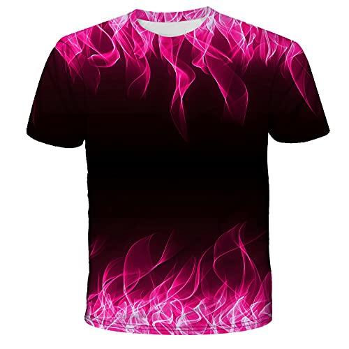 EMPERSTAR Camiseta Running Hombre Summer Flame Printed Tshirt Impresión Digital 3D Cuello Redondo Pareja Manga Corta