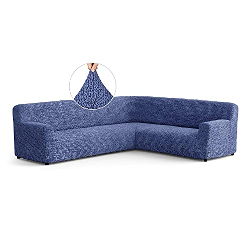 Menotti Corner Sofa Cover - Corner Couch Cover - Pet Protector - Soft Polyester Fabric Slipcovers - 1-piece Form Fit Stretch Sectional Sofa Slipcover Furniture Protector - Microfibra - Blue (Corner)