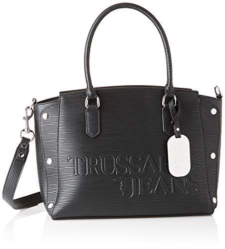 Trussardi Jeans Melly, Borsa Tote Donna, Nero (Black), 21x25x13.5 cm (W x H x L)