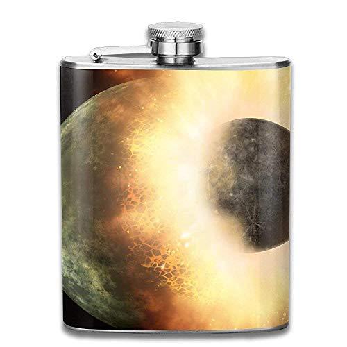 Mars Hit The Earth - Petaca de acero inoxidable 304, a prueba de fugas, para bebidas alcohólicas, 7 onzas, caja de regalo