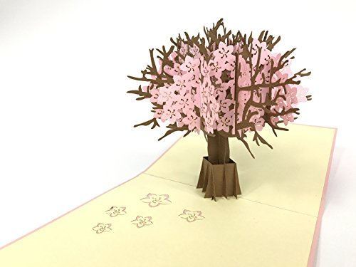Cherry blossom Handmade Kirigami & Origami 3D Pop UP Greeting Cards For Birthday