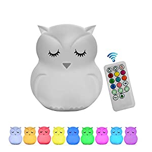 Night Light for Kids, Remote Control and Tap Control Night Light with Soft Silicone Cute Owl Rechargeable 9-Color Dimmable Night Light for Nursery, Bedroom, Living Room