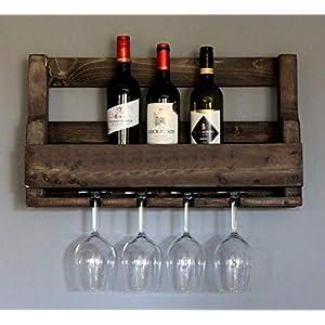 Weinregal aus Holz für die Wand – mit Gläserhalter – Braun Shabby – fertig montiert – Regal für Weinflaschen und…