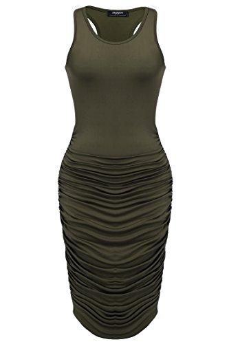 Zeagoo Women's Summer Sexy Sleeveless Sundress Fold Bodycon Tank Dress,Army Green,Large