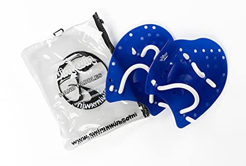 SWIMXWIN Palette PALMARI Professionali Forma ergonomica per Allenamento Nuoto Piscina corredate da Elastico (Blu, Small)