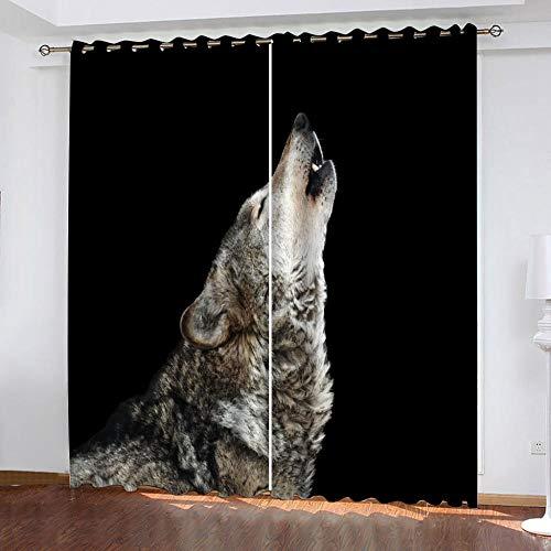 QCTTBD Cortinas De Opacas - 280X 245 Cm - Lobo Animal - para Sala Cuarto Comedor Salon Cocina Habitación - 3D Impresión Digital con Ojales Aislamiento Térmico Cortinas