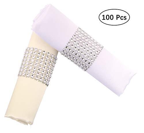 YumHome Napkin Rings Rhinestone Napkin Rings Adornment For Wedding Party (100 PCS, Silver)