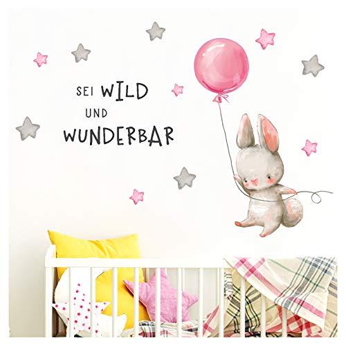 Little Deco Aufkleber Spruch sei wild & Hase I Wandbild M - 146 x 72 cm (BxH) I Luftballon Wandtattoo Kinderzimmer Mädchen Tiere Wandbilder Deko Babyzimmer Kinder DL320