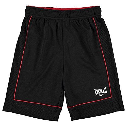 Everlast Kinder Jungen Basketball Shorts Sporthose Kurze Hose Sport Bekleidung Black/Red 9-10 (MB)