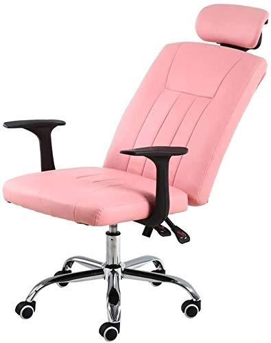 GSN Bseack Computer Stuhl mit hohem Rücken PU-Leder-Chefsessel mit Swing-Funktion Höhenverstellbarer Reclining Ergonomische Büro-Schreibtisch-Stuhl for Studentenwohnheim Study Sessel (Color : Pink)