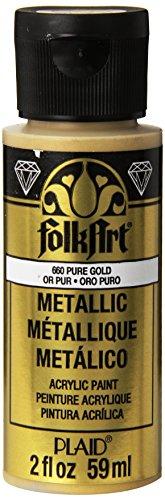 FolkArt Acrylic Metallic Paint, 2 Fl Oz (Pack of 1), Pure Gold