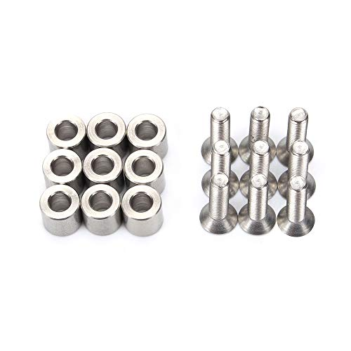 FYSETC Prusa MK3 Heated Bed Spacer Aluminum Spacer Kit for MK3 Y Carriage 1 Set/ 9 pcs 6x6x3 mm Spacer with 9 pcs M3 Screws and Wrench for Prusa MK3 3D Printer Hot Bed 6x6x3t Spacer
