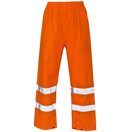 Myshoestore, pantaloni da lavoro impermeabili ad alta visibilità con 2bande in nastro riflettente PU di sicurezza e banda elastica in vita, taglie dalla S alla XXXL Orange Small