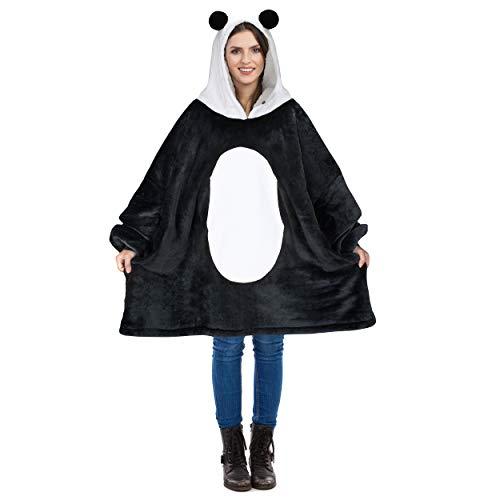 Catalonia Übergroße Sherpa Hoodie Sweatshirt Decke, Weiche Warme Riesen Hoodie Fronttasche Giant Plüsch Pullover Decke mit Kapuze for Erwachsene Männer Frauen Teenager-Studenten, Panda