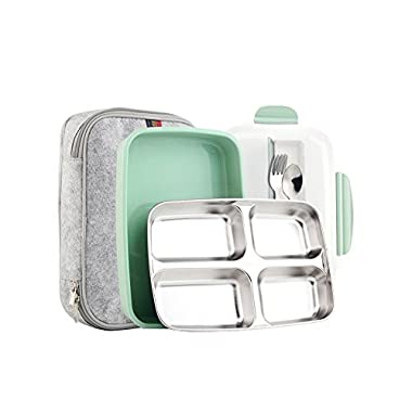 Slim Stainless Steel Square Lunch Box Set - Insulated Leak Proof Lunch Box for Adults and Kids, Non-toxic Tasteless safety, With Insulated Bag And Cutlery - Dishwasher Microwave Safe (Green)