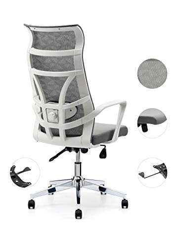 Allguest Office Chair Home Computer Chair White High Back Armrest Ergonomic Adjustable Lumbar Support Mesh Nylon AG-876FH-W
