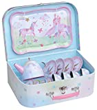 Jewelkeeper 15 Piece Kids Pretend Toy Tin Tea Set & Carrying Case - Party Unicorn Design