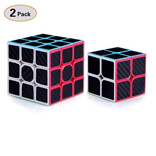 TOYESS Zauberwürfel Set,3x3 Speed Cube,2x2 Speed Cube Set Zauberwürfel 2 Pack Carbon Fiber Cube