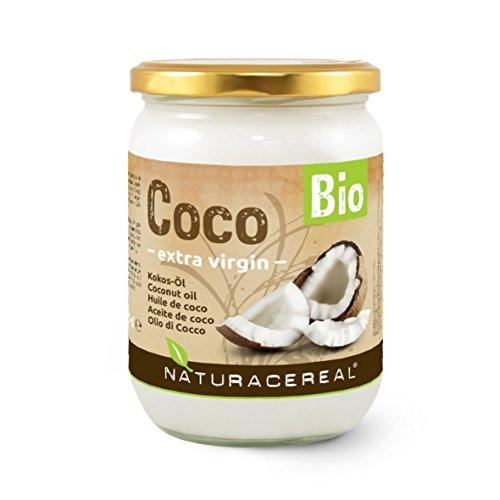 NATURACEREAL Bio Kokosöl von 500ml im Glas: unraffiniert, unbehandelt, ungehärtet & nicht desodoriert / Kokosnussfett Kokos-Öl Kokosfett Cocosfett Coconut Oil. Kontrollierte Qualität.