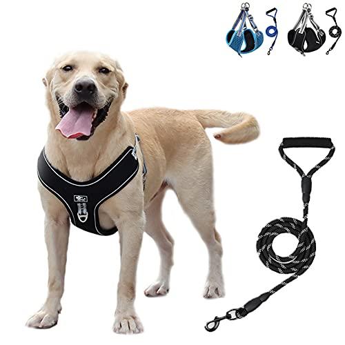 Pettorina per cani Pettorina per cani di taglia grande, Imbracatura per cani riflettente regolabile 2021 per cani di taglia media con guinzaglio per cani resistente da 1,5 m gratuito (Nero, 3XL)