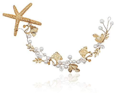 Bienvenu Handmade Starfish Hairband Women Headband Crystal Beads Pearl Hair Crown Bridal Wedding Hair Accessories, White