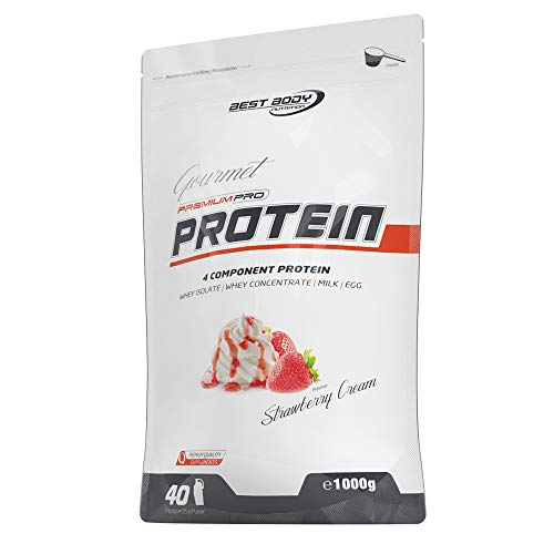 Best Body Nutrition Gourmet Premium Pro Protein Strawberry Cream Zipp-Beutel, 1 kg