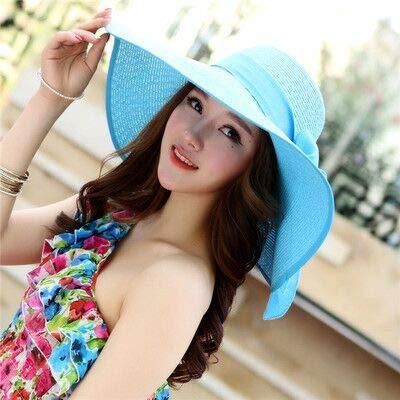 Sombreros de Verano para Mujer, Visera, Sombrero de ala Grande, clásico, con Lazo, Sombrero de Paja Plegable, Gorra de Playa Informal al Aire Libre para Mujer-Sky Blue