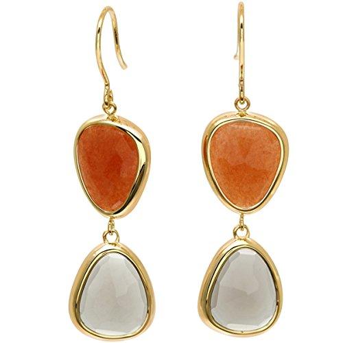 Citerna Damen-Ohrringe Gelbgold 9 karat Rauchquarz und Orange Aventurine Stein 4, 5 cm