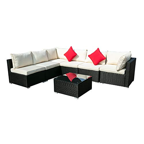 Outdoor Wicker Patio Furniture Sectional Cushioned Rattan Conversation Sofa Sets Black (Beige)