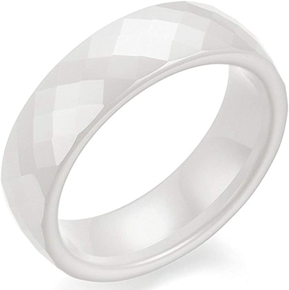 7mm Black White Faced Classic Simple Plain Dome Style Ceramic Wedding Band Ring